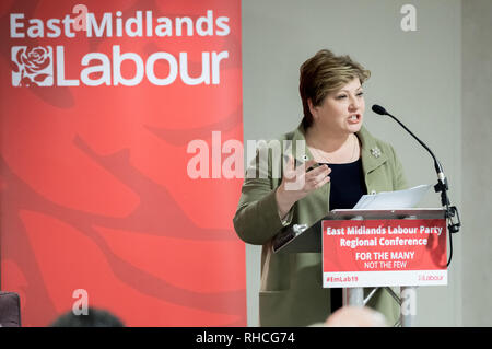 Nottingham, Nottinghamshire, England, UK. 2nd February 2019. East Midlands Labour Party Conference 2019, Nottingham, Nottinghamshire, England, UK. 2nd. February, 2019.  Labour's Shadow Foreign Secretary  Emily Thornberry M.P. giving the closing speech at the conference to party members at the East Midlands Labour Party Conference 2019. Alan Beastall/Alamy Live News Credit: Alan Keith Beastall/Alamy Live News - Stock Image
