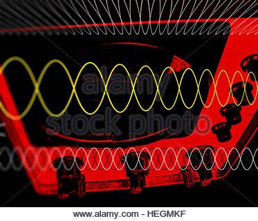 Vintage Scope scanner screen oscillating lines display electronic scientific equipment dials - Stock Image