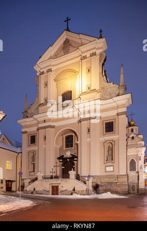 Winter dawn at St Theresa church in Vilnius old town. - Stock Image