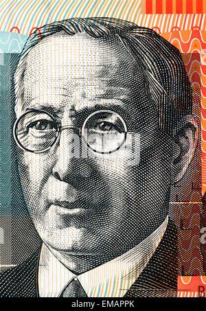 John Flynn (1880-1951) on 20 Dollars 2010 Banknote from Australia. - Stock Image