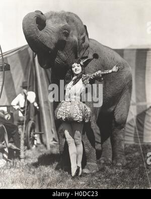 Circus performer posing with elephant - Stock Image