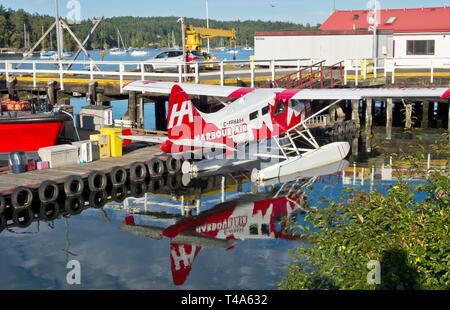 Harbour Air commuter float plane on Salt Spring Island, BC.  deHavvilland Canada DH-C Beaver sea plane in the harbour near Ganges, BC. - Stock Image