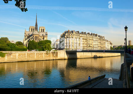 Seine River and Notre Dame Cathedral,Paris,France - Stock Image