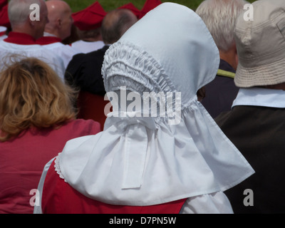 Traditional Manx costume bonnet, worn at ceremonial occasions such as the Manx National day, Tynwald Day, 5th July - Stock Image