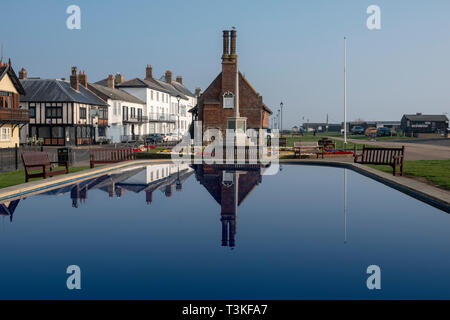 Boating pond with Moot Hall in background, Aldeburgh Suffolk - Stock Image