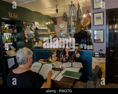 Family restaurant in Serralunga outside Alba in Piemont, Italy - Stock Image