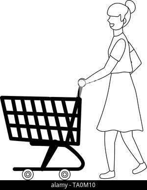 Woman shopping design, Store online ecommerce media market and internet theme Vector illustration - Stock Image