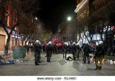 Greek riot police take up positioning against agitators during demonstrations regarding the Macedonian name dispute. Thessaloniki, Greece Jan 2019. - Stock Image