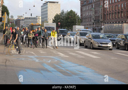 some of the thousands of cyclists in copenhagen denmark - Stock Image