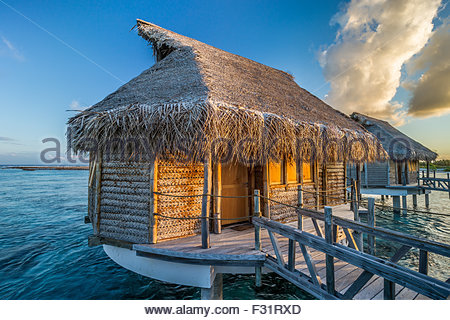 Tikehau Pearl Beach water bungalows - French polynesia - Stock Image