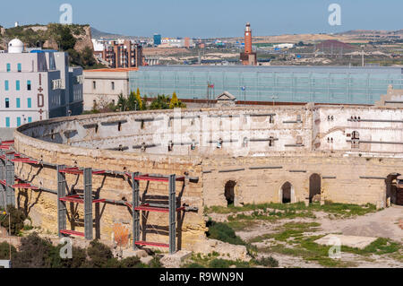 Views of the old bullring of Cartagena, in the province of Murcia, Spain. It was built in 1853. - Stock Image