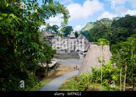 Overview of Bena traditional village, Ngada District, Flores Island (East Nusa Tenggara), Indonesia. - Stock Image
