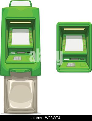 green different atms set on white - Stock Image
