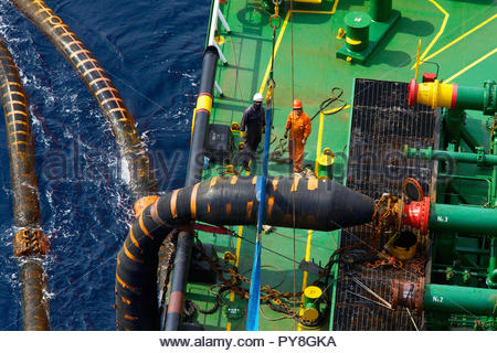 High angle view of workers on offshore oil platform - Stock Image