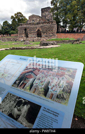 Information sign and ruins of Roman Baths, Jewry Wall Museum, Leicester, England, UK - Stock Image