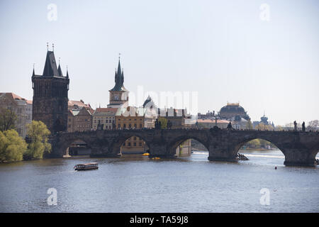 Charles Bridge in a calm weather and a daylight. Mid shot - Stock Image