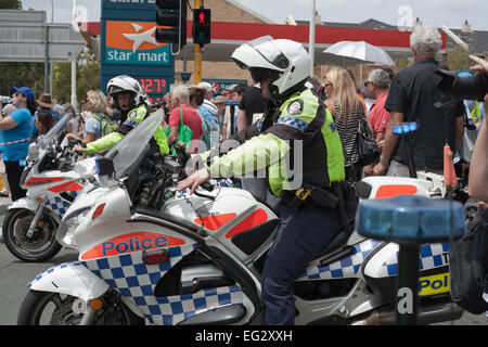 Western Australian motorcycle police officers performing crowd control at a public event in Perth - Stock Image