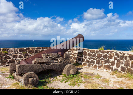 Cannon. Fort Rodney, Pigeon Island, Gros Islet, Saint Lucia, Caribbean. - Stock Image