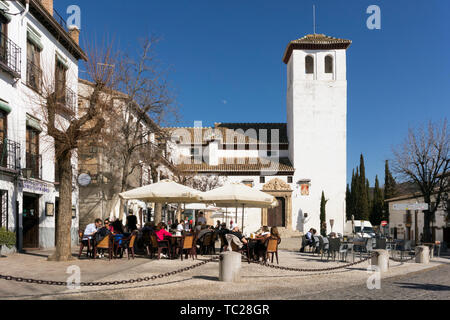 Church of San Miguel Bajo, in the square of the same name in the Albayzin, Granada, Granada Province, Andalusia, southern Spain.  The Alhambra, Genera - Stock Image