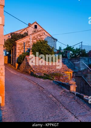 Warm sunset light in Lozisca on Brac island in Croatia - Stock Image