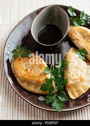 Japanese dumplings with a mushroom vegetable filling. - Stock Image