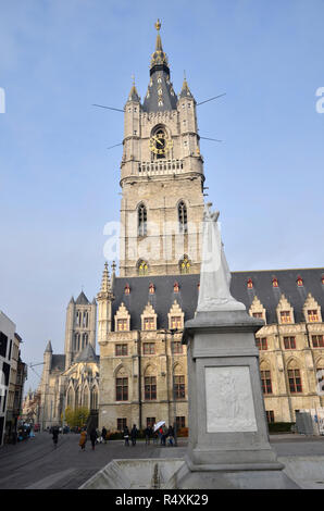The Belfry of Ghent in the centre of the Flemish town of Ghent in Belgium - Stock Image