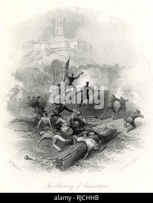 The battle of Chapultepec was key in the larger battle over Mexico City, and was a quick victory for the Americans. A soldier holding an American flag stands on a rock in the middle of the battlefield and points, as American soldiers run forwards. An American soldier prepares to stab a Mexican soldier in the foreground. - Stock Image