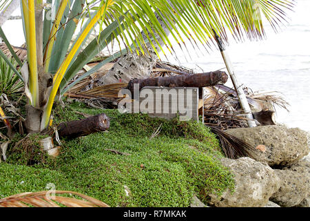 Two very rusted cannons pointing out to sea - Stock Image