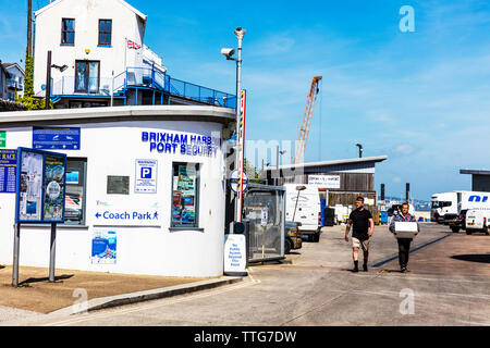 Brixham Harbour Port Security, Brixham, Devon, UK, England, United Kingdom, Brixham Harbour Office, Port Security, building, sign, signs, security, - Stock Image