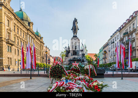 A view of the Grunwald Monument in Krakow Poland - Stock Image