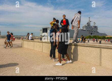 Marseille, FRANCE, Outside French Teens Visiting Dock near MUCEM Museum - Stock Image