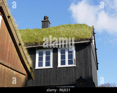 Typical grass roof houses in Torhavn Faroes Islands - Stock Image