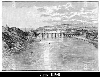 Berwick-upon-Tweed and the mouth of the river Tweed  Northumberland circa 1880 - Stock Image