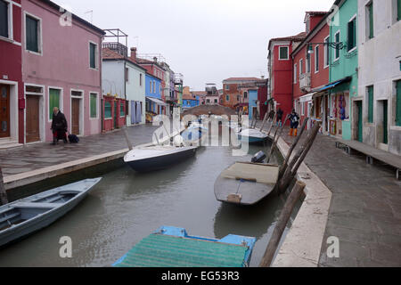 Burano - colorful island archipelago of four separate islands connected by bridges. Burano island called color of - Stock Image