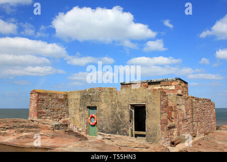 Old Lifeboat House on Hilbre Island, Dee Estuary, Wirral, UK - Stock Image