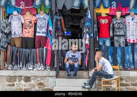 Shops Korca, main Plaza, Albania, - Stock Image