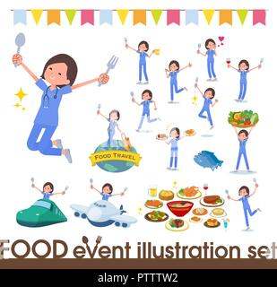 A set of Surgical Doctor women on food events.There are actions that have a fork and a spoon and are having fun.It's vector art so it's easy to edit. - Stock Image