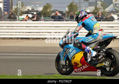 Silverstone, Northamptonshire, UK 24th August 2018 - 2018 GOPRO British Grand Prix MOTORGP Free Practise Day - Plenty of two wheel action on the track - Stock Image