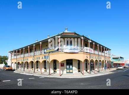 The Excelsior Library building in Charters Towers is a reconstruction of the original hotel which burnt down in 1995, North Queensland, QLD, Australia - Stock Image