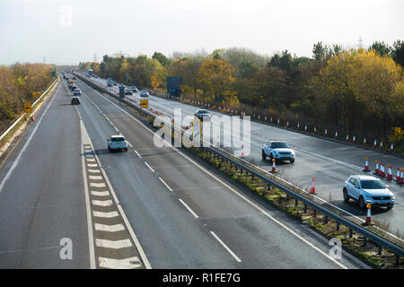A14 looking East road works end Milton junction 10/11/2018 - Stock Image