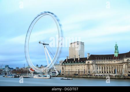 London Eye and County Hall - Stock Image