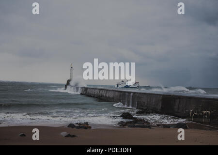 Aberdeen South Breakwater being battered by waves during the beast from the east storm. - Stock Image