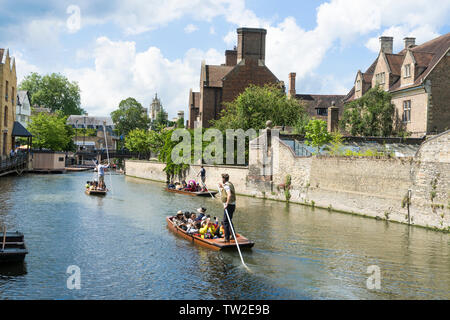 Crowded punts heading into city along river Cam Cambridge 2019 - Stock Image