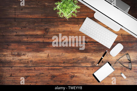 top view of wood desktop with office stuff 3d rendering mockup - Stock Image