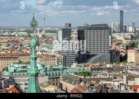 Vienna cityscape, view of the business district of Vienna pictured from the south tower of the city's Stephansdom cathedral, Wien, Austria. - Stock Image