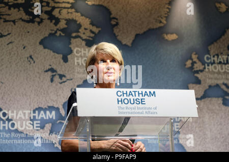London / UK - July 18 2018: Julie Bishop, Australian minister for foreign affairs, speaking at the Chatham House think-tank in central London. Credit: Dominic Dudley/Alamy Live News - Stock Image