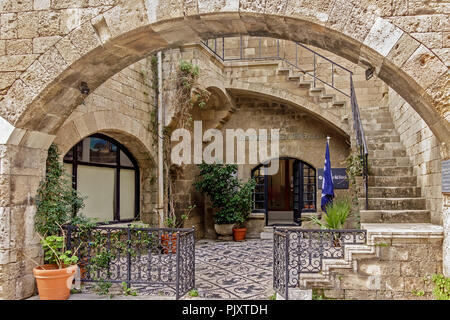 Small Greek bank Rhodes Town Greece - Stock Image