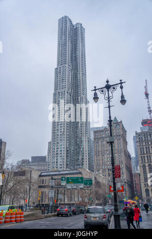 New York by Gehry from Brooklyn Bridge New York City (NYC) Skyscraper - Stock Image