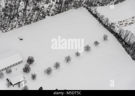 Aerial View Of Fields With Snow - Stock Image