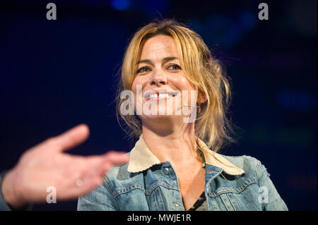 Eve Myles Welsh actress speaking on stage at Hay Festival 2018 Hay-on-Wye Powys Wales UK - Stock Image
